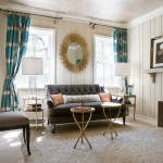 Painted Wood Paneling for Transitional Living Room with Colorful Office