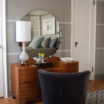 Painting Stripes on Walls for Contemporary Bedroom with Velvet Chair
