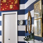 Painting Stripes on Walls for Eclectic Entry with Wall Stripes