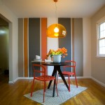 Painting Stripes on Walls for Eclectic Kitchen with Orange Cabinets