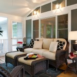 Painting Wicker Furniture for Eclectic Porch with Geometric Pillows