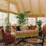 Painting Wicker Furniture for Traditional Sunroom with Yellow Sofa