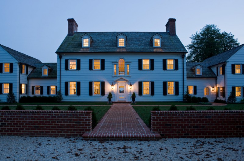Palladian Window for Traditional Exterior with Red Brick Path