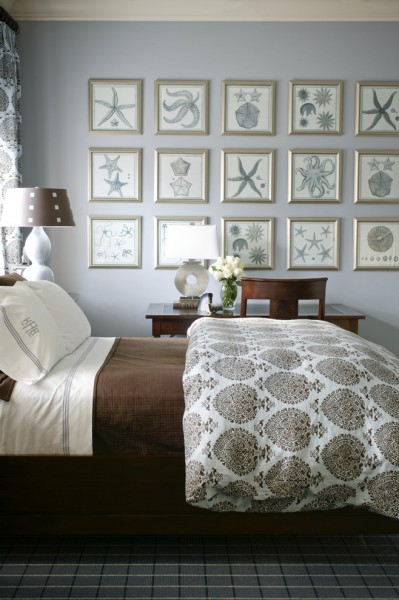 Parapet Wall for Beach Style Bedroom with Hotel Bedding