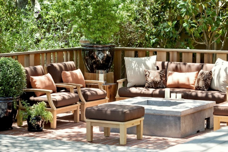 Peaceful Valley Furniture for Transitional Patio with Wood Side Table
