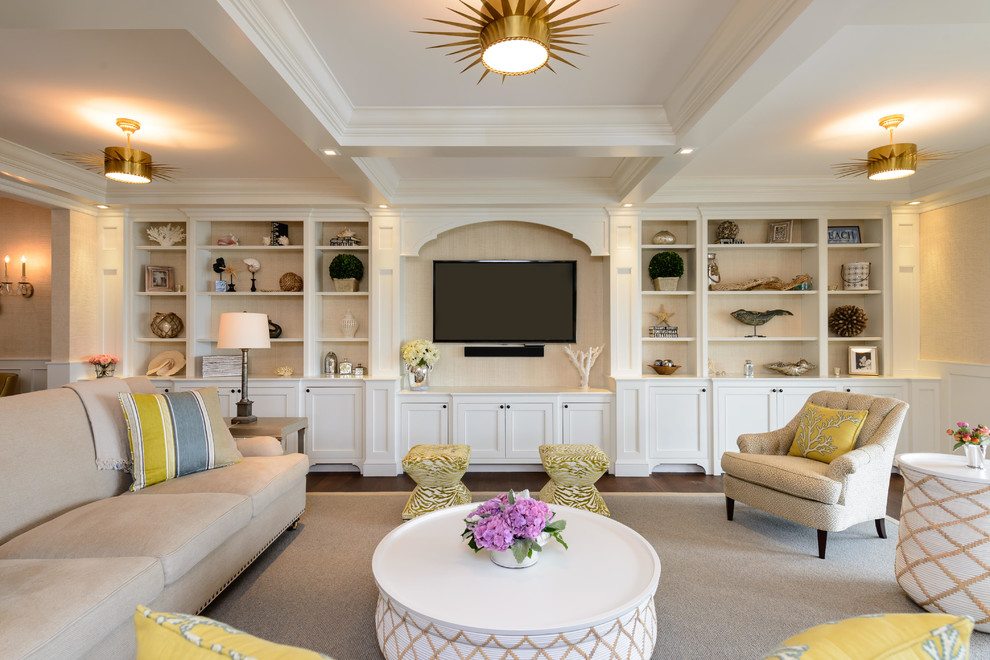 Peninsula Wellness Center for Beach Style Living Room with Built in Media Console