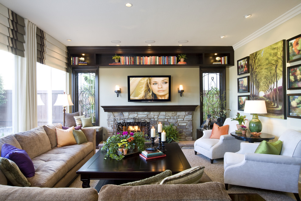 Peninsula Wellness Center for Traditional Family Room with Conversational Furniture Placement