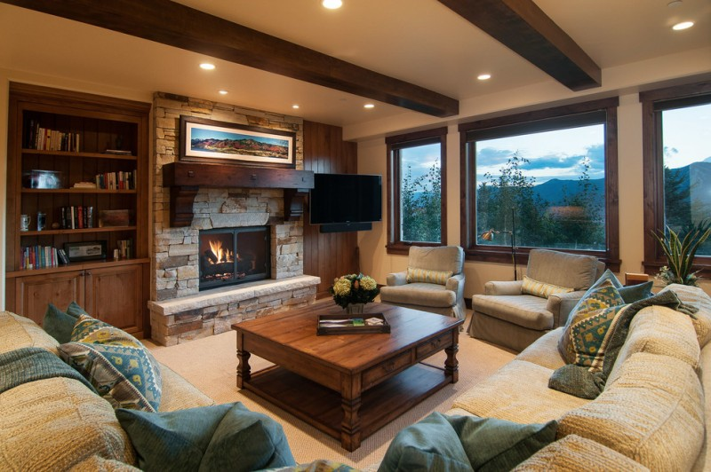 Perry Homes Utah for Rustic Living Room with Metal Fireplace Screen