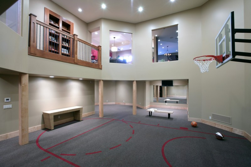 Pickleball Court Dimensions for Contemporary Home Gym with Recessed Lights
