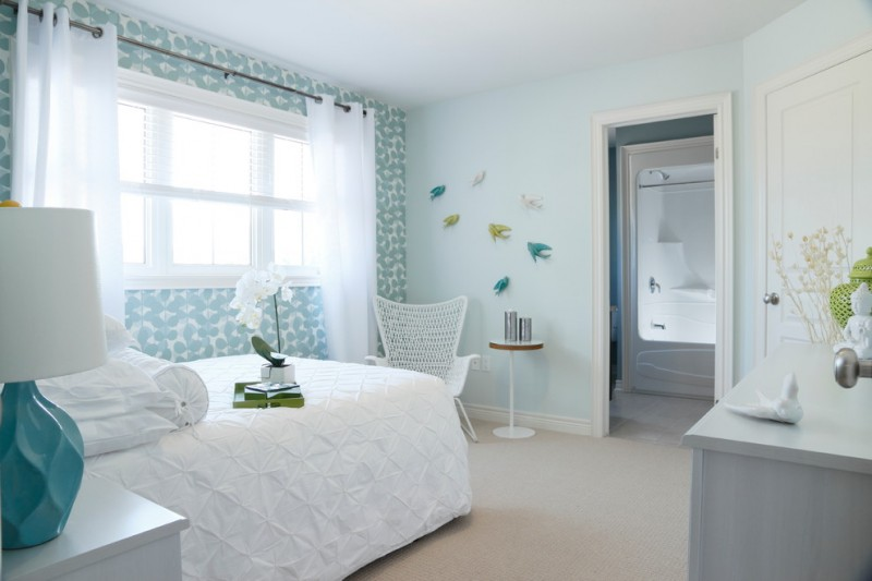 Pintuck for Contemporary Bedroom with Blue Table Lamp