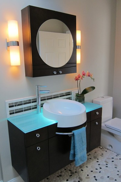 Plumb Supply for Contemporary Bathroom with Wall Sconces