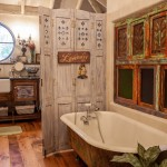 Plywood Flooring Ideas for Shabby Chic Style Bathroom with Rustic