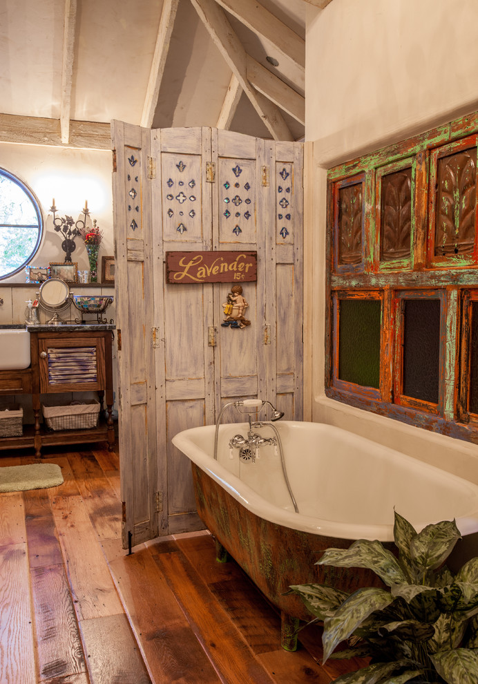 Plywood Flooring Ideas for Shabby-Chic Style Bathroom with Rustic