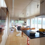 Plywood Plank Floor for Contemporary Kitchen with Wood Flooring
