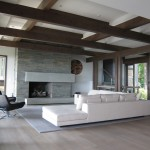 Plywood Plank Floor for Contemporary Living Room with Concrete