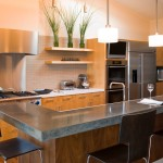 Polished Concrete Countertops for Contemporary Kitchen with Stainless Steel Appliances
