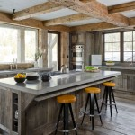 Polished Concrete Countertops for Rustic Kitchen with Counter Stools