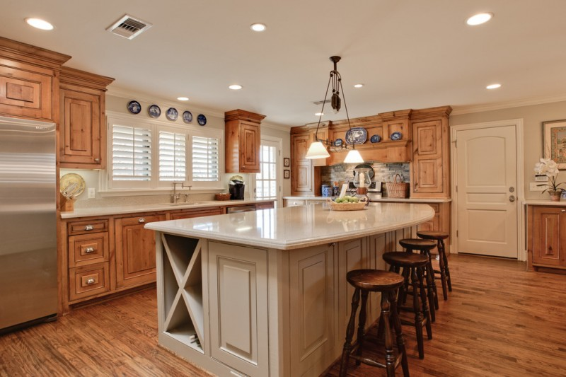 Polished Concrete Countertops for Traditional Kitchen with Mixed Cabinetry