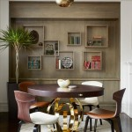 Poltrona Frau for Transitional Dining Room with Wall Shelves
