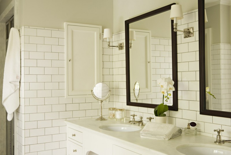 Polyblend Grout Colors for Traditional Bathroom with White Subway Tiles