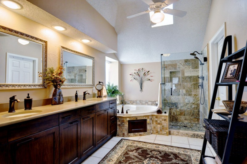 Popcorn Ceilings for Traditional Bathroom with Glass Shower