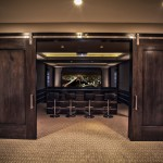 Port Chester Theater for Contemporary Home Theater with Dark Wood Doors
