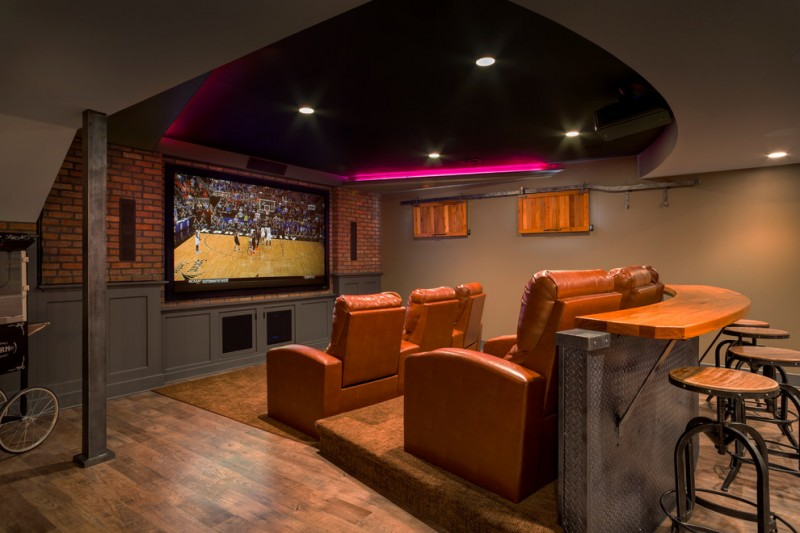 Port Chester Theater for Traditional Home Theater with Counter Stools