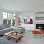 Portico Designs for Contemporary Living Room with White