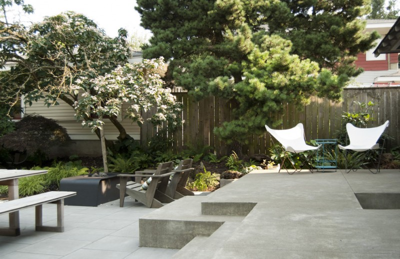 Portland Sand and Gravel for Contemporary Patio with Steps