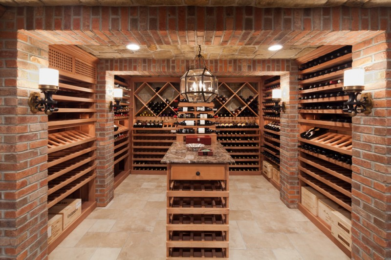 Potomac Valley Brick for Traditional Wine Cellar with Stone Ceiling