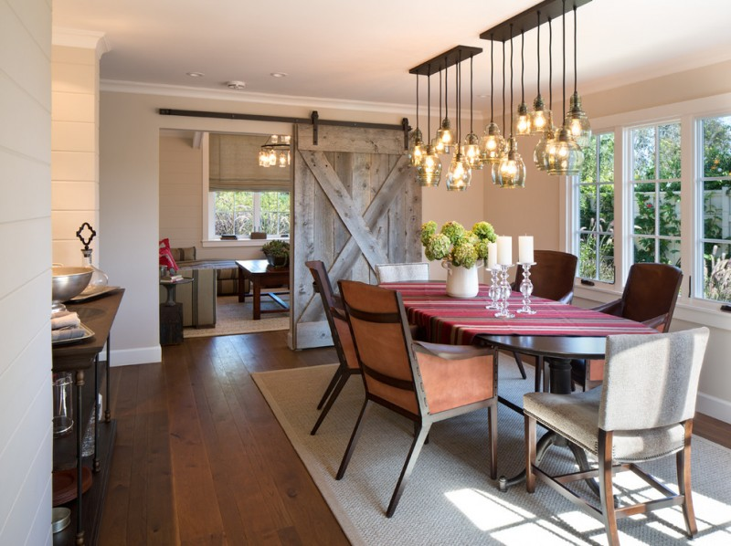 Pottery Barn Knock Off for Farmhouse Dining Room with Recessed Lighting