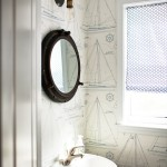Preppy Wallpaper for Beach Style Powder Room with Nautical Mirror