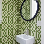 Preppy Wallpaper for Contemporary Bathroom with Geometric Pattern Wallpaper