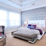 Preppy Wallpaper for Contemporary Bedroom with Beige Carpet