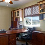Preppy Wallpaper for Contemporary Home Office with Cabinets