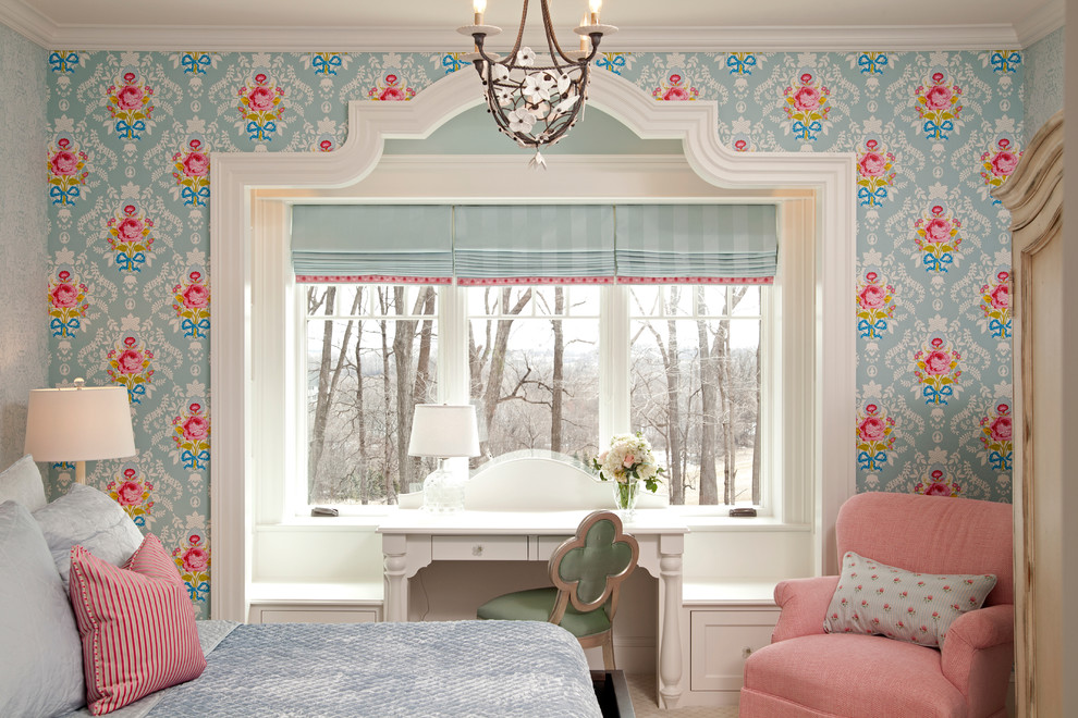 Preppy Wallpaper for Traditional Bedroom with Window Desk