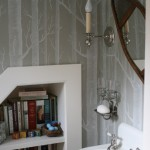 Preppy Wallpaper for Traditional Powder Room with Sconce