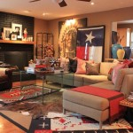 Primos Dallas for Southwestern Living Room with Brick Fireplace