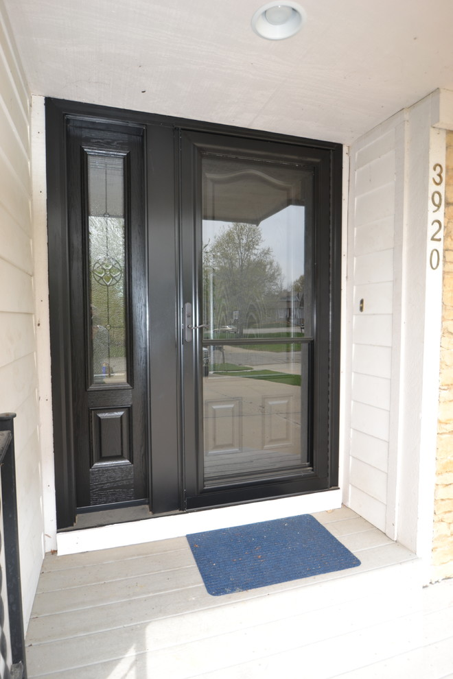 Provia Doors for Traditional Entry with Satin Nickel Hardware