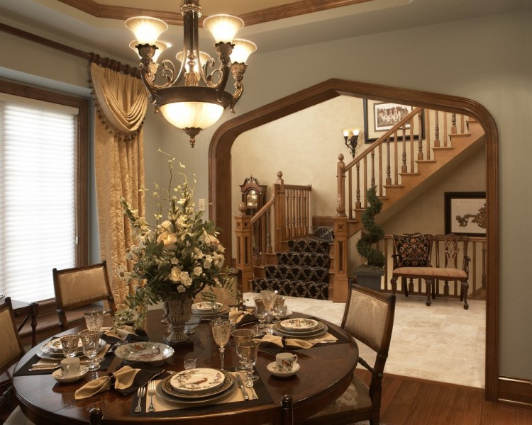 Quietude for Traditional Dining Room with Chandelier