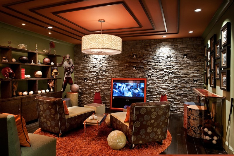 Quincy University Football for Transitional Home Theater with Display Shelves