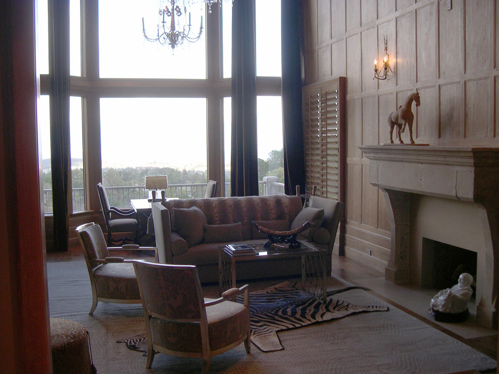 Rafael Lumber for Traditional Living Room with Cantilevered Limestone Fireplace