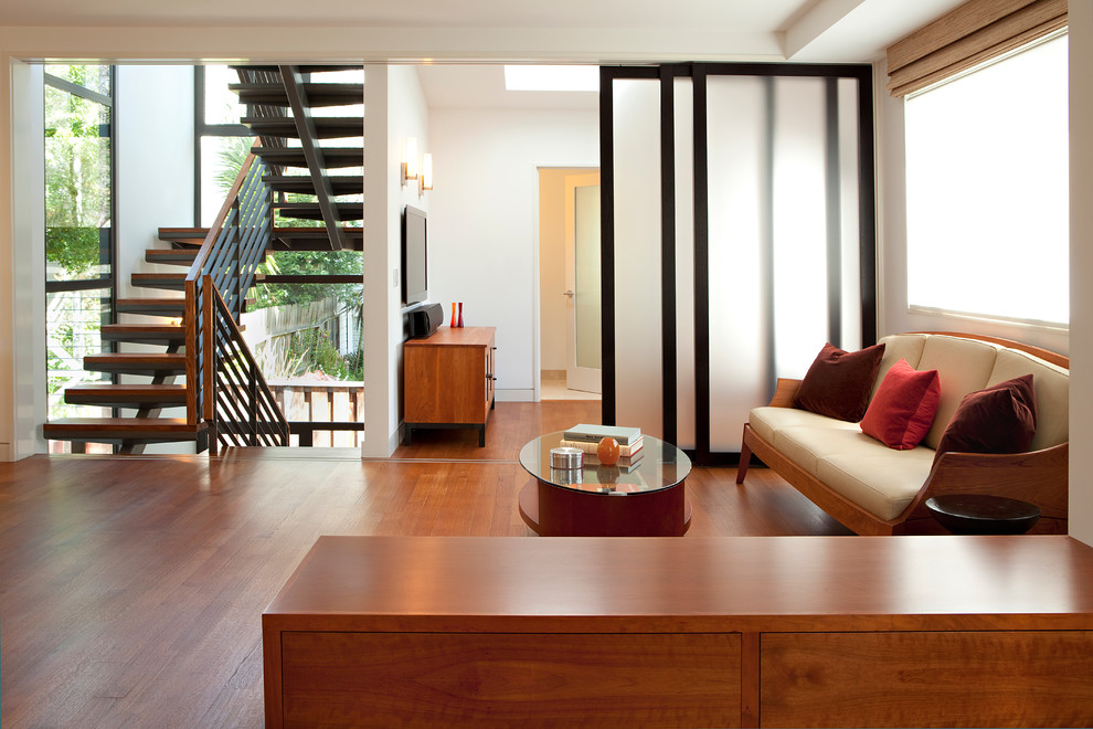 Raydoor for Contemporary Living Room with Wood Hand Rail