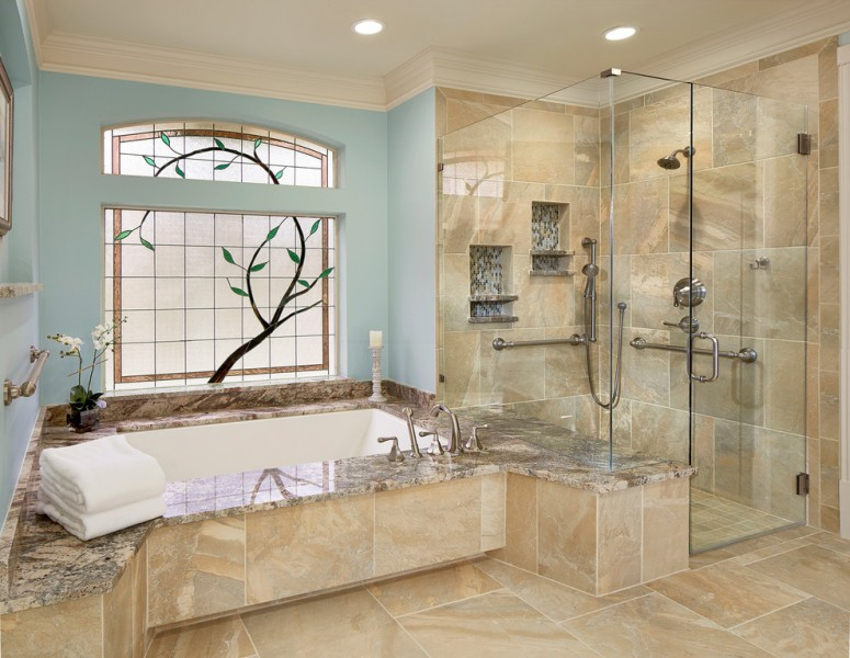 Redi Floors for Traditional Bathroom with Corner Shower
