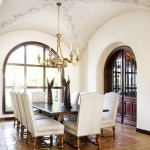 Removing Popcorn Ceiling for Mediterranean Dining Room with Floor Tile