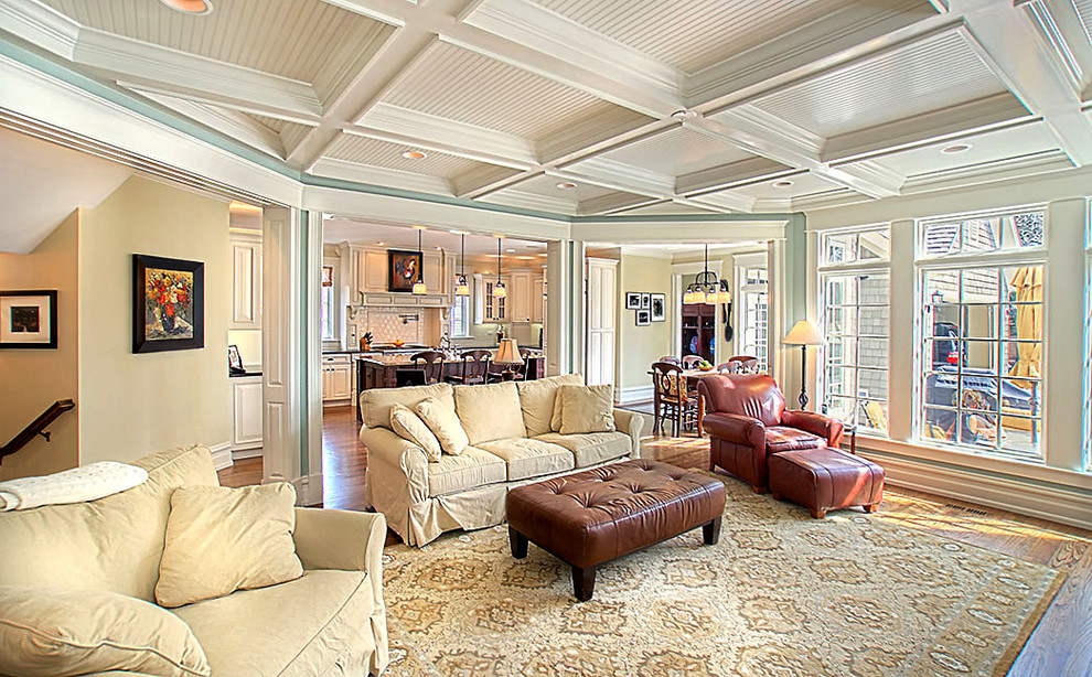 Removing Popcorn Ceiling for Traditional Living Room with Crown Molding
