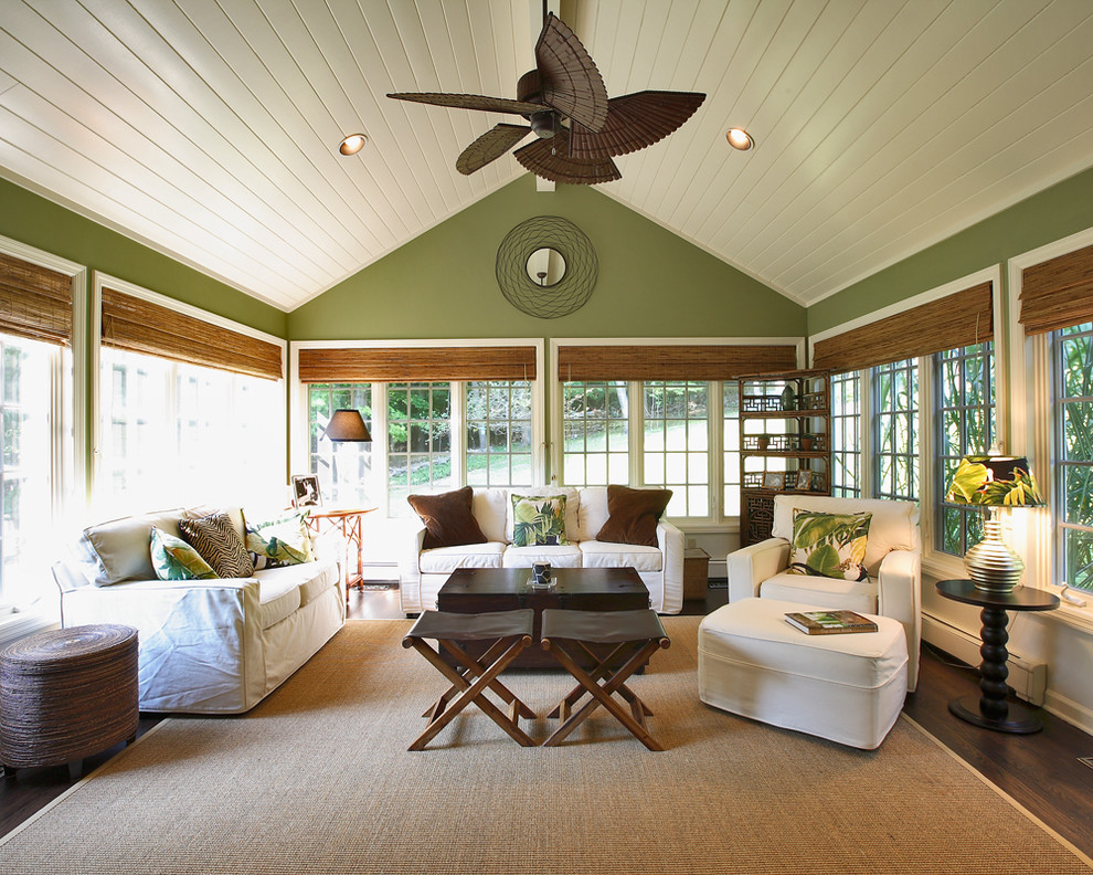 Removing Popcorn Ceiling for Traditional Sunroom with Leather Stool