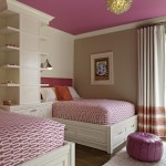 Removing Popcorn Ceiling for Transitional Bedroom with Pink Bedding