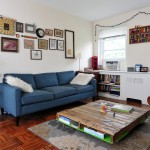 Repurposed Pallets for Midcentury Living Room with Fur Throw Pillow