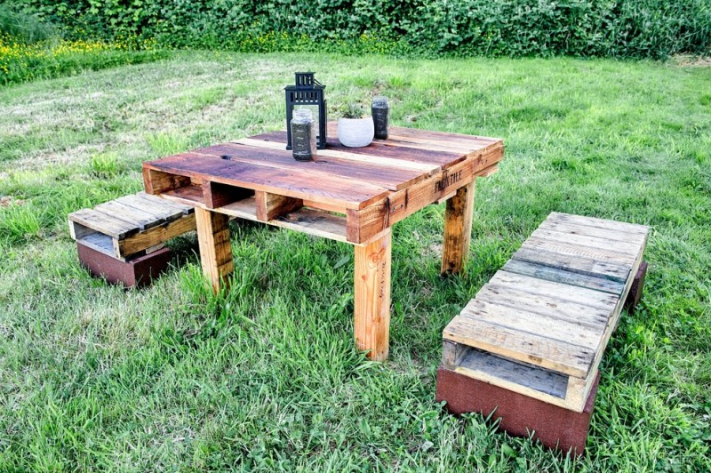 Repurposed Pallets for Rustic Patio with Outdoor Living Space